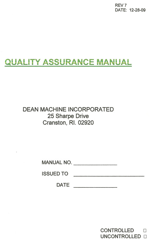 machine shop quality manual